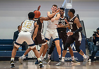 WASHINGTON, DC - JANUARY 5: Chase Paar #3 of George Washington gets off a pass to Jameer Nelson Jr during a game between St. Bonaventure University and George Washington University at Charles E Smith Center on January 5, 2020 in Washington, DC.