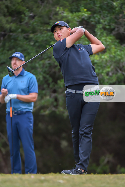 Si Woo Kim (KOR) watches his tee shot on 14 during Round 3 of the Valero Texas Open, AT&T Oaks Course, TPC San Antonio, San Antonio, Texas, USA. 4/21/2018.<br /> Picture: Golffile | Ken Murray<br /> <br /> <br /> All photo usage must carry mandatory copyright credit (© Golffile | Ken Murray)