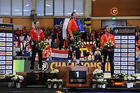 SCHAATSEN: BERLIJN: Sportforum Berlin, 06-03-2016, ISU WK Allround, Podium Men, Sverre Lunde Pedersen (NOR), Sven Kramer (NED) voor de achtste keer wereldkampioen allround, Jan Blokhuijsen (NED), ©foto Martin de Jong