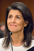 Governor Nikki R. Haley (Republican of South Carolina) testifies before the United States Senate Committee on Foreign Relations on her nomination to serve as The Representative Of The United States Of America To The United Nations, With The Rank And Status Of Ambassador Extraordinary And Plenipotentiary, And The Representative Of The United States Of America In The Security Council Of The United Nations And To Be Representative Of The United States Of America To The Sessions Of The General Assembly Of The United Nations During Her Tenure Of Service As Representative To The United Nations on Capitol Hill in Washington, DC on Wednesday, January 18, 2017.<br /> Credit: Ron Sachs / CNP