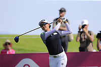 Minjee Lee (AUS) tees off the 7th tee during Thursday's Round 1 of The Evian Championship 2018, held at the Evian Resort Golf Club, Evian-les-Bains, France. 13th September 2018.<br /> Picture: Eoin Clarke | Golffile<br /> <br /> <br /> All photos usage must carry mandatory copyright credit (© Golffile | Eoin Clarke)