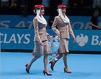 Emirates Air Hostesses enter the court with the Emirates ATP World Number One Trophy, ATP World Tour Finals 2016, Day Eight, O2 Arena, Peninsula Square, London, United Kingdom, 20th Nov 2016