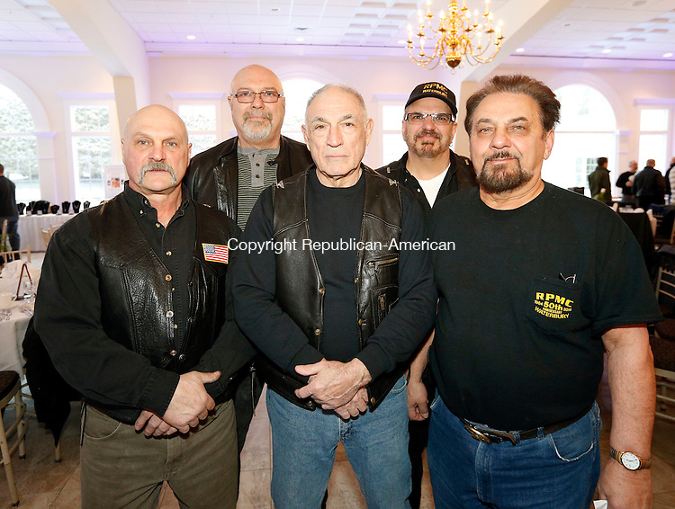 Southington, CT- 20 March 2015-032015CM09-  Members of the Rat Pack Motorcycle Club of Waterbury  front from left, Fran Dabbo, Bob Fernandez and Bart Ensero. Back, Al Chabot, and Bruce Pettinicchi are photographed during  the 23rd annual Friends of the NRA dinner at the Aqua Turf in Southington on Friday.   Christopher Massa Republican-American