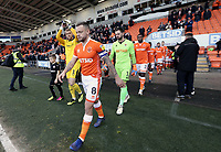 Blackpool's Jay Spearing leads his side out onto the pitch<br /> <br /> Photographer Rich Linley/CameraSport<br /> <br /> The EFL Sky Bet League One - Blackpool v Barnsley - Saturday 22nd December 2018 - Bloomfield Road - Blackpool<br /> <br /> World Copyright &copy; 2018 CameraSport. All rights reserved. 43 Linden Ave. Countesthorpe. Leicester. England. LE8 5PG - Tel: +44 (0) 116 277 4147 - admin@camerasport.com - www.camerasport.com