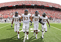 California captains' Robert Mullins, Brian Schwenke, Keenan Allen  and Josh Hill walk to the field for coin toss before the game against Ohio State at Ohio Stadium in Columbus, Ohio on September 15th, 2012.   Ohio State Buckeyes defeated California Bears, 35-28.