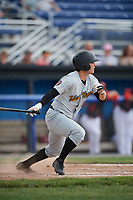 West Virginia Black Bears left fielder Garrett Brown (16) hits a single during a game against the Batavia Muckdogs on June 25, 2017 at Dwyer Stadium in Batavia, New York.  Batavia defeated West Virginia 4-1 in nine innings of a scheduled seven inning game.  (Mike Janes/Four Seam Images)