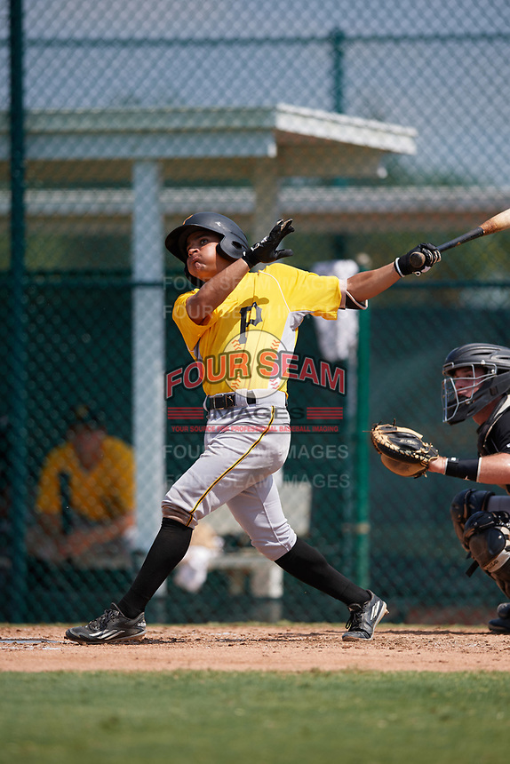 Pittsburgh Pirates shortstop Francisco Acuna (3) fouls a pitch off during an Instructional League intrasquad black and gold game on September 28, 2017 at Pirate City in Bradenton, Florida.  (Mike Janes/Four Seam Images)