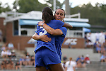 19 August 2016: Duke's Imani Dorsey (3) celebrates her goal with Taylor Racioppi (behind). The Duke University Blue Devils played the Wofford College Terriers in a 2016 NCAA Division I Women's Soccer match. Duke won the game 9-1.