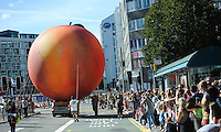 Pictured: Saturday 17 September 2016<br /> Re: Roald Dahl&rsquo;s City of the Unexpected has transformed Cardiff City Centre into a landmark celebration of Wales&rsquo; foremost storyteller, Roald Dahl, in the year which celebrates his centenary.<br /> The giant peach is prepared to make it's way down Westgate Street and onto Cardiff Castle.