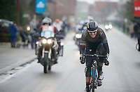 Ian Stannard (GBR) &amp; (an invisible) Greg Van Avermaet (BEL) detatched themselves from the lead group and now have to hold them off with about 10km to go<br /> <br /> Omloop Het Nieuwsblad 2014
