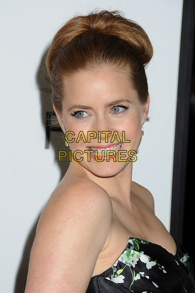 Amy Adams.AFI FEST 2012 'On The Road' gala screening, Grauman's Chinese Theatre, Hollywood, California, USA..3rd November 2012.headshot portrait black strapless green floral print smiling .CAP/ADM/BP.©Byron Purvis/AdMedia/Capital Pictures.