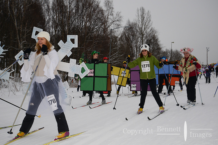 About 1,300 women took part in the 17th annual Alaska Ski for Women, held Feb. 3, 2013 at Kincaid Park in Anchorage, Alaska, to benefit programs that help break the cycle of domestic violence.