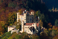 Hohenschwangau castle in with autumn colors on trees, Schwangau, Bavaria, Germany