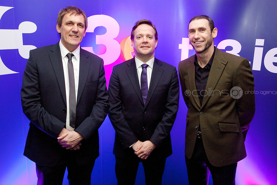 3/3/2011. TV3 SPRING SCHEDULE LAUNCH. Pictured at the Aviva Stadium for the launch of the TV3 spring schedule are Tony Cascarino, Kirsteen O Sullivan and Pat Kiely TV3 Communications Director .Picture James Horan/Collins Photos
