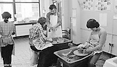 Adult students in the Art Dept, the Education Centre, Wester Hailes, Scotland, 1979.  John Walmsley was Photographer in Residence at the Education Centre for three weeks in 1979.  The Education Centre was, at the time, Scotland's largest purpose built community High School open all day every day for all ages from primary to adults.  The town of Wester Hailes, a few miles to the south west of Edinburgh, was built in the early 1970s mostly of blocks of flats and high rises.