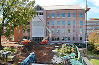 Central Connecticut State University.  New Academic Building.  Project No: BI-RC-324.Architect: Burt Hill Kosar Rittelmann Associates    Contractor: Gilbane Building Company, Glastonbury, CT..James R Anderson Photography   New Haven CT   photog.com.Date of Photograph: 18 October 2012   Image No. 02.Camera View: West. Site Overview from Marie Sanford Hall, East Elevation.