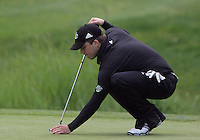 20 May, 2010:  Loyola Universities Ryan McCarthy sets up his shot on hole nine of the NCAA Division I Regionals tournament Thursday at Gold Mountain Golf Course in Bremerton, WA.