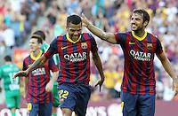ALVES - CESC FABREGAS ( FC Barcelone )<br /> Football Calcio 2013/2014 <br /> Spagna La Liga<br /> Foto Panoramic / Insidefoto