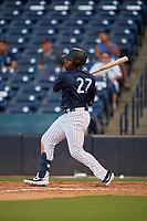 Tampa Tarpons Steven Sensley (27) hits a home run during a Florida State League game against the Daytona Tortugas on May 17, 2019 at George M. Steinbrenner Field in Tampa, Florida.  Daytona defeated Tampa 8-6.  (Mike Janes/Four Seam Images)