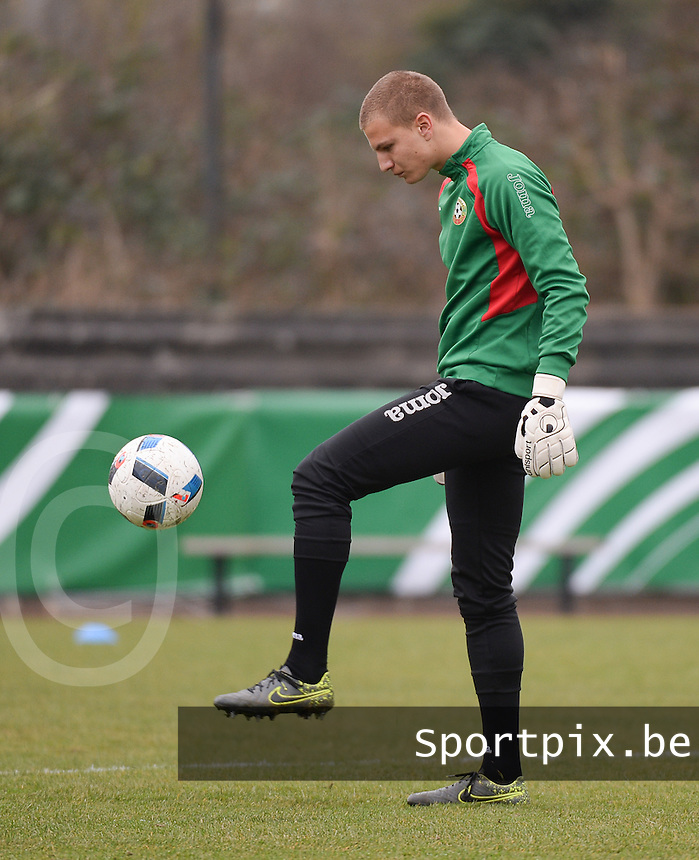 20160324 - Buderich , GERMANY : Bulgarian Petar Petrov pictured during the soccer match between the under 17 teams of The Netherlands and Bulgaria , on the first matchday in group 4 of the UEFA Under17 Elite rounds in Buderich , Germany. Thursday 24th March 2016 . PHOTO DAVID CATRY