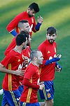 Spain's Diego Costa, Iago Aspas, Gerard Pique, Sergio Ramos, Sergio Busquets and Andres Iniesta during training session. March 20,2017.(ALTERPHOTOS/Acero)