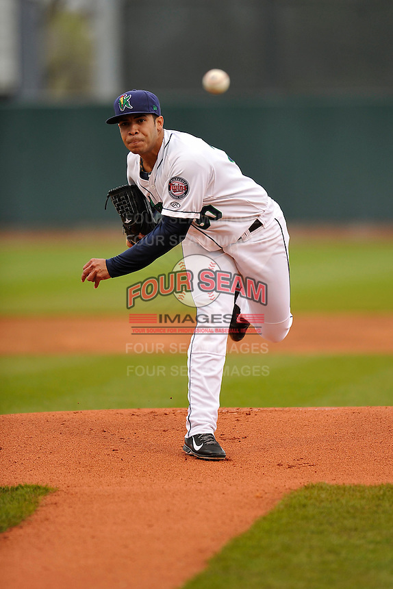 Josue Montanez #30 of the Cedar Rapids Kernels throws against the Kane County Cougars at Perfect Game Field on May 1, 2014 in Cedar Rapids, Iowa. The Kernels won 5-2.   (Dennis Hubbard/Four Seam Images)