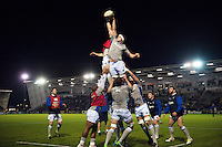 The Bath Rugby forwards practise the lineout during the pre-match warm-up. Aviva Premiership match, between Newcastle Falcons and Bath Rugby on January 6, 2017 at Kingston Park in Newcastle upon Tyne, England. Photo by: Patrick Khachfe / Onside Images