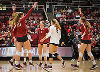 Stanford, CA - October 18, 2019: Kendall Kipp, Jenna Gray, Morgan Hentz, Meghan McClure at Maples Pavilion. The No. 2 Stanford Cardinal swept the Colorado Buffaloes 3-0.