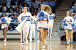 31 January 2013: UNC cheerleaders take the court during a timeout. The University of North Carolina Tar Heels played the Florida State University Seminoles at Carmichael Arena in Chapel Hill, North Carolina in an NCAA Division I Women's Basketball game. UNC won the game 72-62.