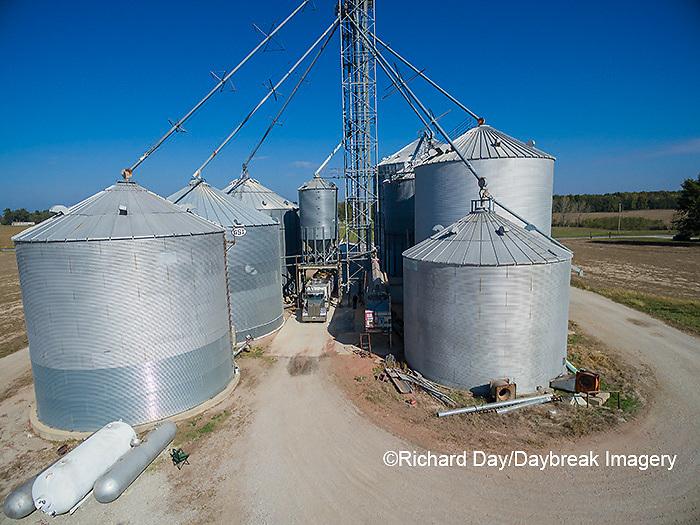 63801-08111 Farmer's grain bins and elevator- aerial Marion Co. IL
