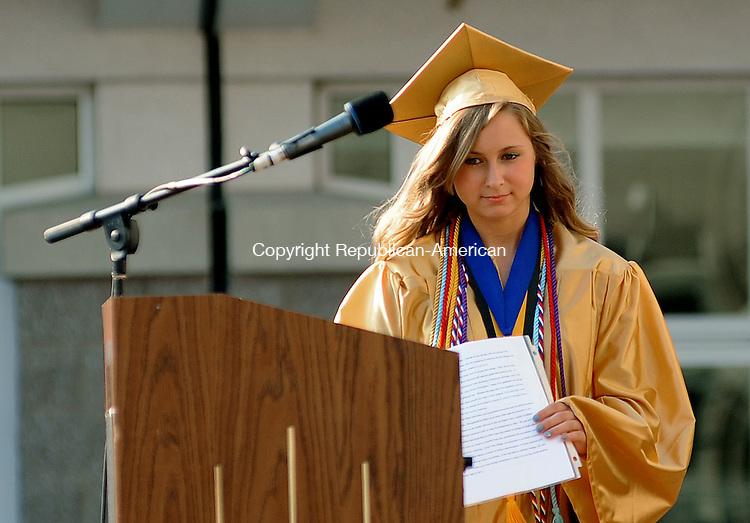 BEACON FALLS, CT-20 JUNE 2012--062012JS12- Woodland High School Salutatorian Risa Kiernan makes her way to the podium during graduation ceremonies Wednesday at Woodland Regional High School in Beacon Falls. .Jim Shannon Republican-American