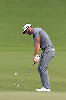 Dustin Johnson (USA) chips onto the 18th green during Saturday's Round 3 of the 2017 PGA Championship held at Quail Hollow Golf Club, Charlotte, North Carolina, USA. 12th August 2017.<br /> Picture: Eoin Clarke | Golffile<br /> <br /> <br /> All photos usage must carry mandatory copyright credit (&copy; Golffile | Eoin Clarke)