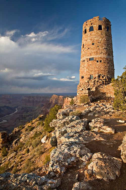 Overlooking the Grand Canyon at the eastern most part of the park, the Desert View Watchtower was constructed in 1932 as a replica Indian Tower.