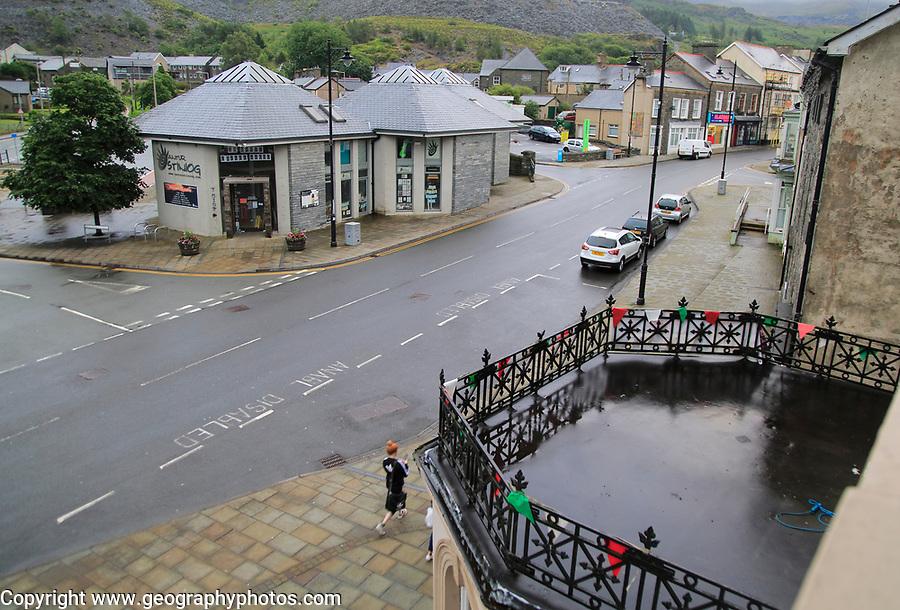 Modern building development including tourist information office, Blaenau Ffestiniog, Gwynedd, north Wales, UK
