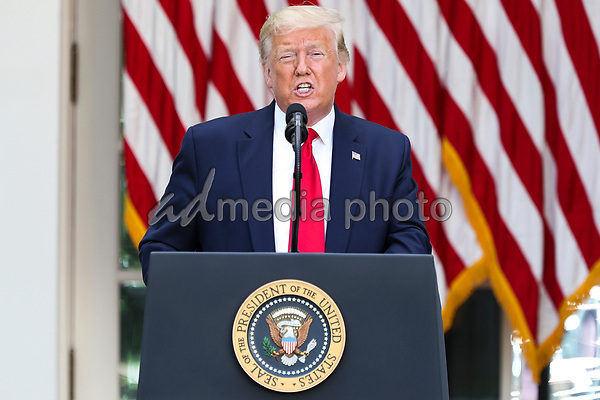United States President Donald J. Trump speaks during an event on Protecting Seniors with Diabetes in the Rose Garden of the White House on May 26, 2020 in Washington, DC.<br /> Credit: Oliver Contreras / Pool via CNP/AdMedia