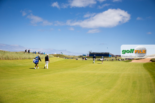 Scott Hend (AUS), Shane Lowry (IRL) on the 14th during the 3rd round at the Dubai Duty Free Irish Open hosted by the Rory Foundation, at Portstewart Golf Club, Portstewart, Co. Derry, Northern Ireland. 08/07/2017<br /> Picture: Golffile | Fran Caffrey<br /> <br /> <br /> All photo usage must carry mandatory copyright credit (&copy; Golffile | Fran Caffrey)