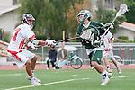 Palos Verdes, CA 04/20/10 - Cole Bender (Palos Verdes #27) and Ryan Silver (Mira Costa #14) in action during the Mira Costa-Palos Verdes boys lacrosse game.