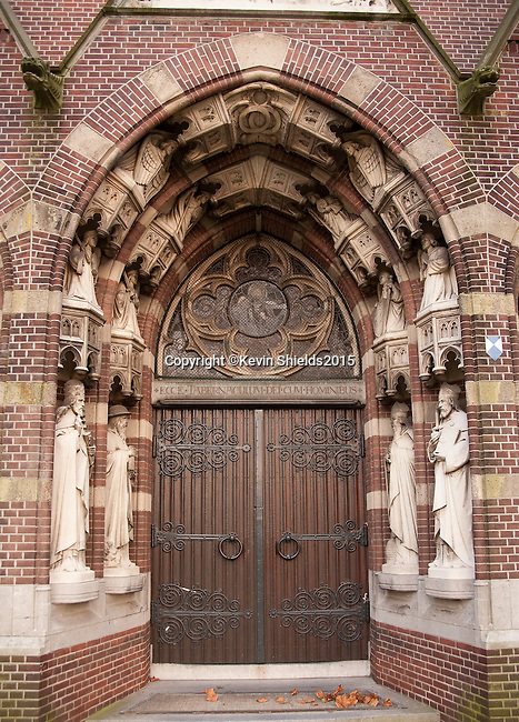 Church entrance in Eindhoven, The Netherlands.