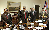 United States President George W. Bush meets with staff to discuss the airline industry in the Roosevelt Room of the White House in Washington, DC, Monday, September 17, 2001. From left, US Secretary of Transportation Norman Mineta, Deputy Chief of Staff Josh Bolten, and White House Counsel Alberto Gonzales. <br /> Mandatory Credit: Eric Draper - The White House via CNP