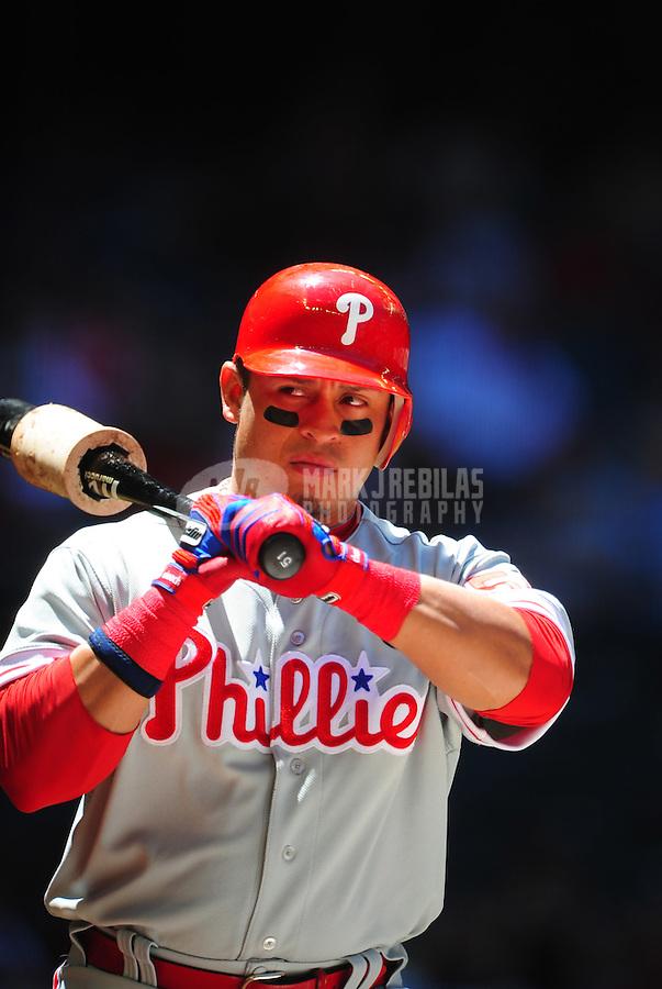 Apr. 27, 2011; Phoenix, AZ, USA; Philadelphia Phillies catcher Carlos Ruiz against the Arizona Diamondbacks at Chase Field. Mandatory Credit: Mark J. Rebilas-