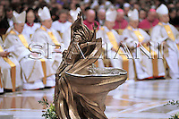 fonte battesimale,baptismal font,Pope Benedict XVI celebrates an Easter Vigil mass in Saint Peter's Basilica at the Vatican ..March 22, 2008..