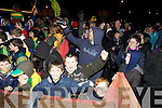 HEROES WELCOME: The massive crowd who braved the cold on Monday night and gathered in the Spar Carpark, Castlegregory to welcome home the All Ireland Junior Club Champions.