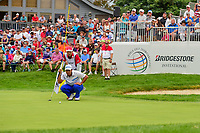 Hideki Matsuyama (JPN) lines up his putt on 18 during Sunday's final round of the World Golf Championships - Bridgestone Invitational, at the Firestone Country Club, Akron, Ohio. 8/6/2017.<br /> Picture: Golffile | Ken Murray<br /> <br /> <br /> All photo usage must carry mandatory copyright credit (&copy; Golffile | Ken Murray)