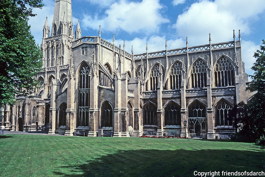 "Bristol: Church of St. Mary Redcliffe, elevation from southeast. Elizabeth I: ""The fairest, goodliest, and most famous parish church in England.""  Photo '90."