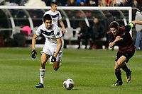 Chester, PA - Friday December 08, 2017: Joao Moutinho, Drew Skundrich The Stanford Cardinal defeated the Akron Zips 2-0 during an NCAA Men's College Cup semifinal match at Talen Energy Stadium.