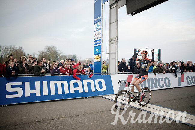 race winner Wout Van Aert (BEL/Vastgoedservice-Golden Palace) crossing the finish line victoriously<br /> <br /> Koksijde CX World Cup 2014