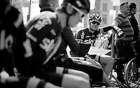 Ian Stannard (GBR/Sky) waiting with the team to go on stage (for the team presentation)<br /> <br /> 103rd Scheldeprijs 2015