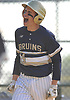 Allan Drew #34, Baldwin first baseman, reacts after crossing home plate in the top of the sixth inning of a Nassau County varsity baseball game against host Plainview JFK High School on Monday, May 8, 2017. Baldwin won by a score of 8-3.