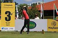 Dylan Frittelli (RSA) in action on the 3rd tee during Round 1 of the Maybank Championship at the Saujana Golf and Country Club in Kuala Lumpur on Thursday 1st February 2018.<br /> Picture:  Thos Caffrey / www.golffile.ie<br /> <br /> All photo usage must carry mandatory copyright credit (© Golffile | Thos Caffrey)