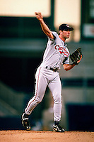 Charles Nagy of the Cleveland Indians during a game at Anaheim Stadium in Anaheim, California during the 1997 season.(Larry Goren/Four Seam Images)